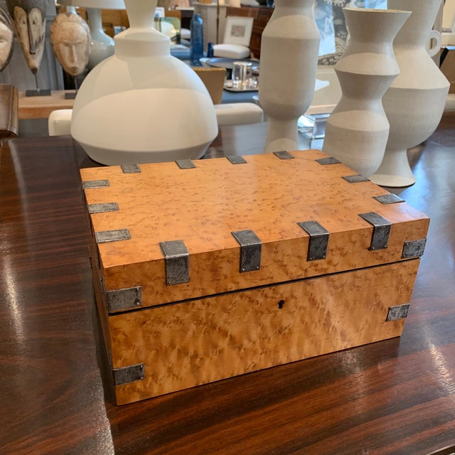 Traditional Large, Antique Maple and Steel Antique Wood Box For Sale - Image 3 of 7