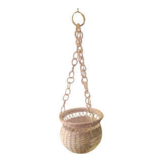 Mid 20th Century White Wicker Hanging Basket For Sale