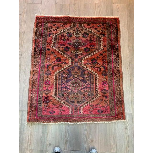 Red Vintage Persian Serapi Heriz Area Rug- 3′3″ × 3′8″ For Sale - Image 8 of 8