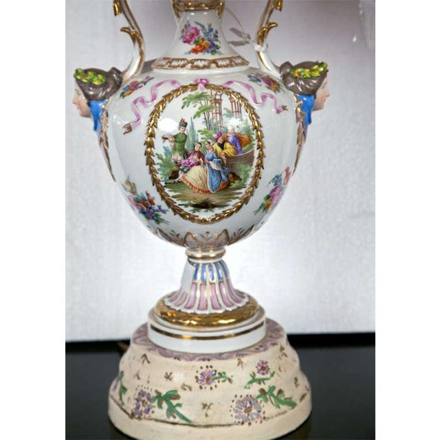 Rococo Porcelain Meissen Style Urn Form Lamps - Pair For Sale - Image 3 of 9