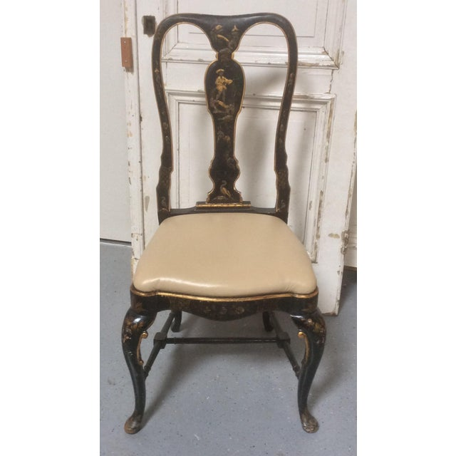 Beautiful classic Queen Anne style chair with antique Chinoiserie  decoration and modern leather seat. - Antique Chinoiserie Desk Chair With Leather Seat Chairish