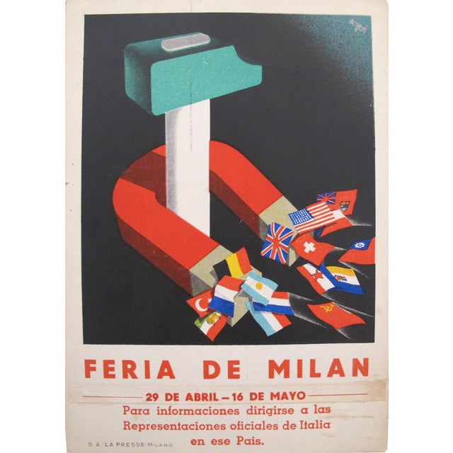 Feria de milan italian original advertising carton chairish - Feria de milan ...