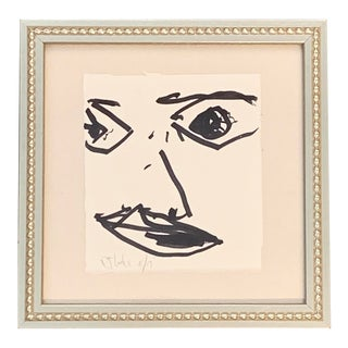 Original Contemporary Signed Robert Cooke Abstract Face Ink Drawing For Sale