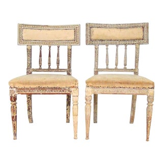 Pair of Gustavian Chairs For Sale