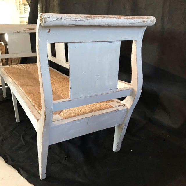 Gustavian Grey Painted Rustic Bench With Original Rush Seat For Sale - Image 9 of 13