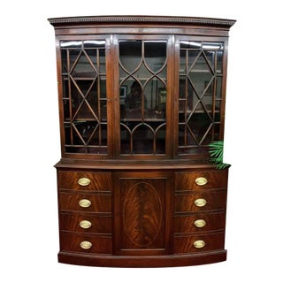 1940s Federal Kittinger Mahogany Breakfront Cabinet For Sale