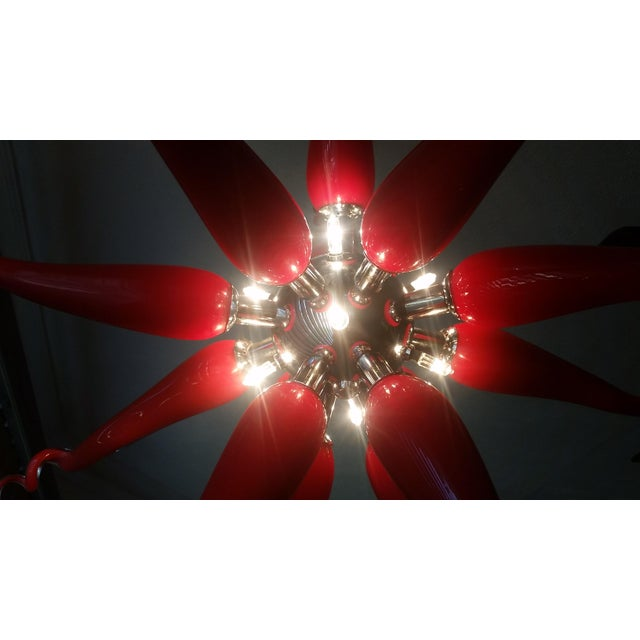 Beautiful Red Modern Blown Glass Chandelier - Image 7 of 7
