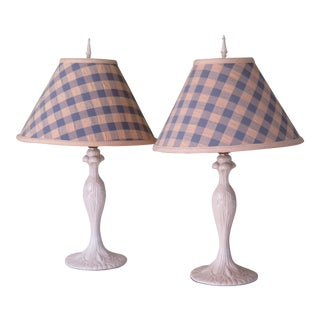 Shabby Cottage Chic Enamel Metal Boudoir Table Lamps with Blue and Cream Plaid Shades - a Pair For Sale