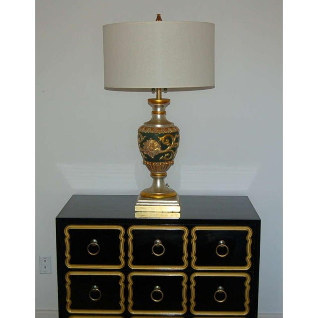 The Marbro Lamp Company Marbro Italian Wood Table Lamps Black Gold For Sale - Image 4 of 10
