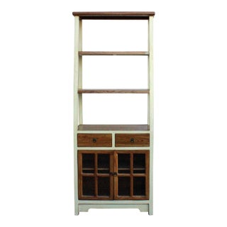 Oriental Cream White Brown Glass Door China Bookcase Cabinet For Sale