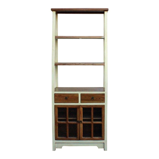 Oriental Cream White Brown Glass Door China Bookcase Cabinet Chairish