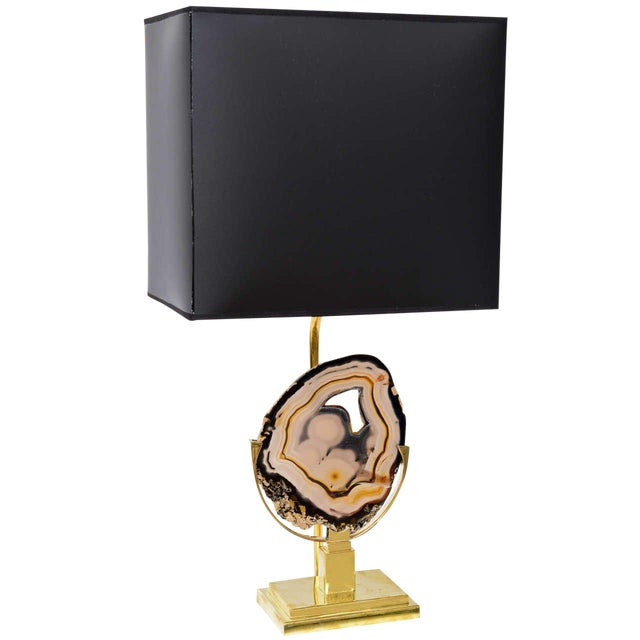 Brass Table Lamp with Agate Disc For Sale