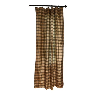 Vintage Plaid Silk Drapery Panels - a Pair For Sale