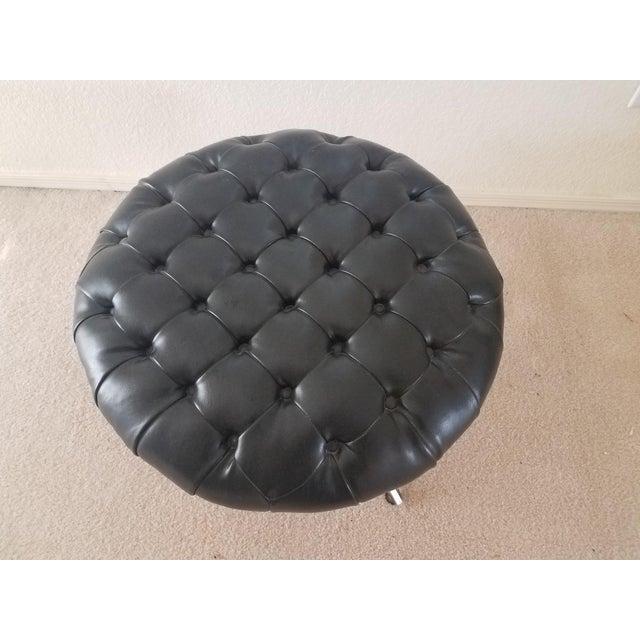 Kroehler Mfg. Co. Vintage Kroehler Black Leather Tufted Ottoman For Sale - Image 4 of 7