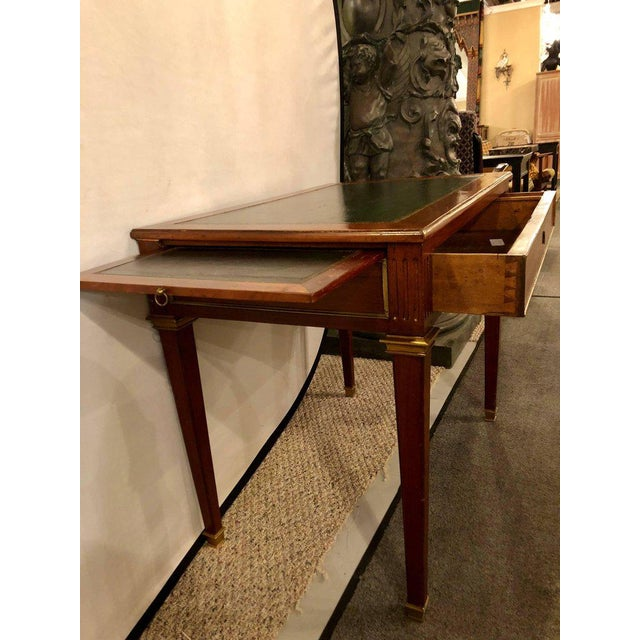 Dimenutive Leather Top Desk With Pull Out Sides And Bronze Mounts Stamped Jansen For Sale - Image 4 of 11