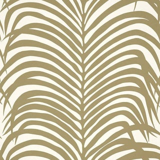 Sample - Schumacher Zebra Palm Pattern Animal Floral Wallpaper in Khaki For Sale