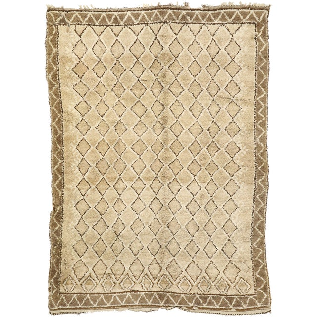Vintage Berber Moroccan Rug With Earth-Tone Colors - 7'1 X 9'8 For Sale - Image 9 of 10