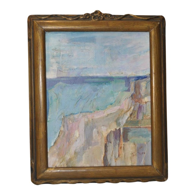"""1940 """"Ocean Cliffs"""" Original Abstract Oil Painting by S.C. Yuan - Image 1 of 4"""
