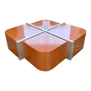 Vintage Flair Home Lacquer Company Cinnabar/Chrome Coffee Table For Sale
