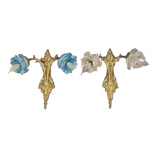 B Dore'-Bronze French Rococo Wall Sconces, a Pair