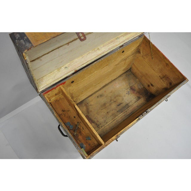 Late 19th Century Antique Primitive Wooden Trunk/Blanket Chest For Sale - Image 11 of 13