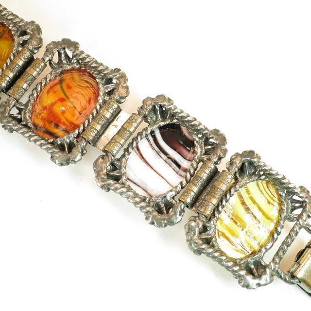 Mid-Century Selro Agate Art Glass Florentine Link Bracelet, 1950s For Sale - Image 10 of 13