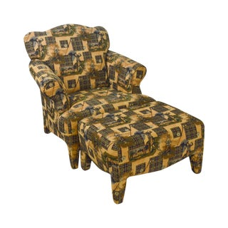 Custom Upholstered Golf Print Club Lounge Chair W/ Ottoman For Sale