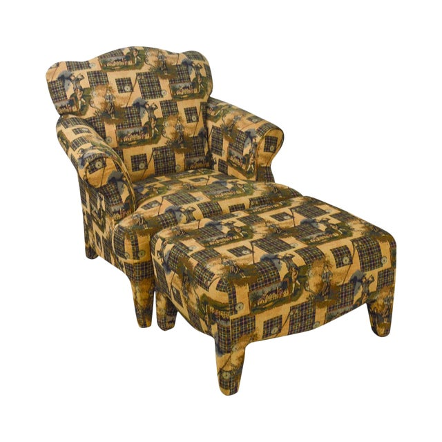 Custom Upholstered Golf Print Club Lounge Chair with Ottoman For Sale