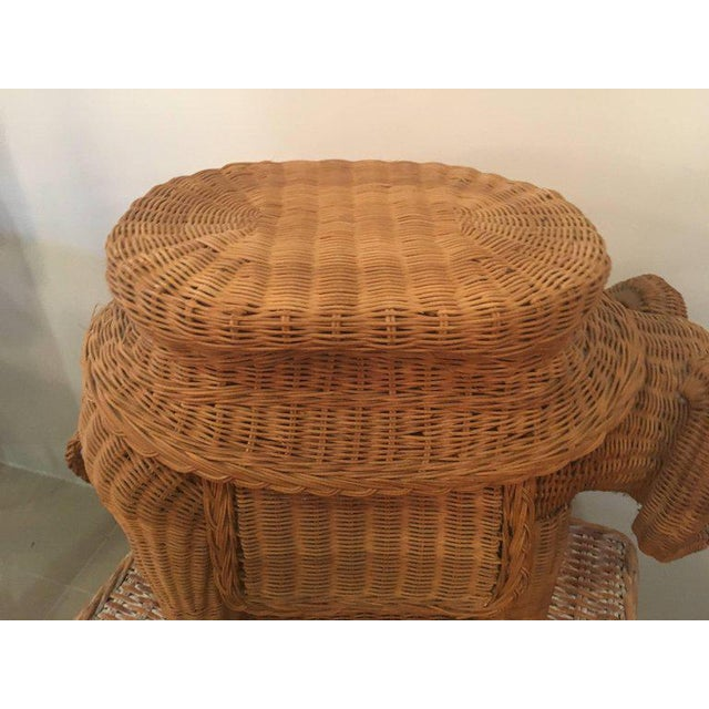 Vintage Wicker Ram Garden Stool Plant Stand For Sale - Image 9 of 10