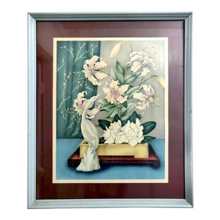 "Vintage ""Floral Still Life"" Color Lithograph of a Watercolor Painting For Sale"