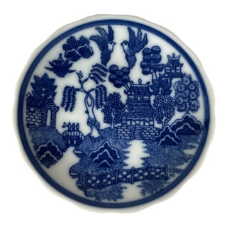 1960s Miniature Blue Willow Pattern Scalloped Edge Saucer, Japan For Sale