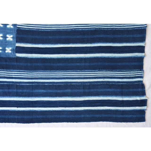 Custom Tailored Blue & White Flag From African Textiles - Image 6 of 8