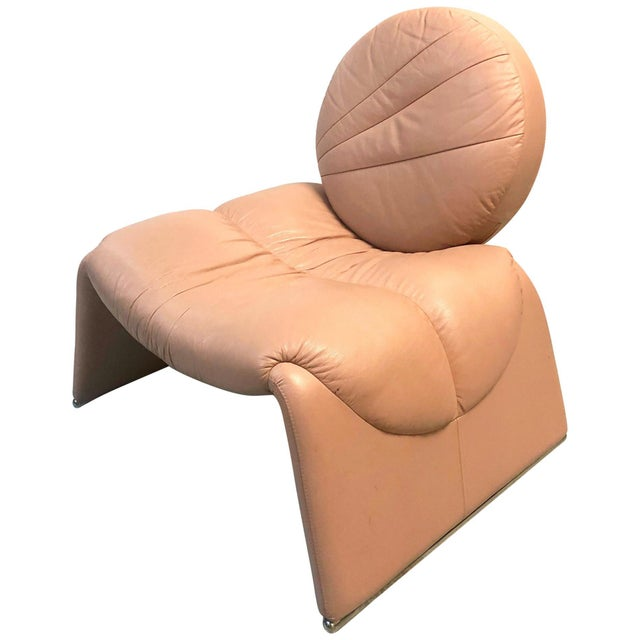 Pink Postmodern Pink Leather Lounge Chair, 1980s For Sale - Image 8 of 8