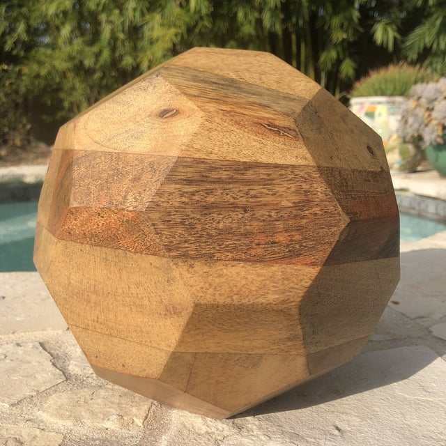 Wood Modern Organic Faceted Geometric Wood Sculptural Orb For Sale - Image 7 of 8
