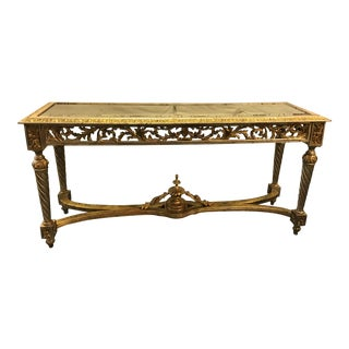 Italian Ornately Carved Console With Silver & Gold Gilding and Smokey Mercury Glass Top For Sale