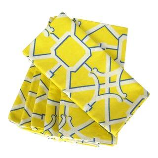 Yellow Lattice Dinner Napkins, S/6 For Sale