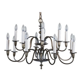 Vintage Large Brass Sixteen-Arms Chandelier For Sale