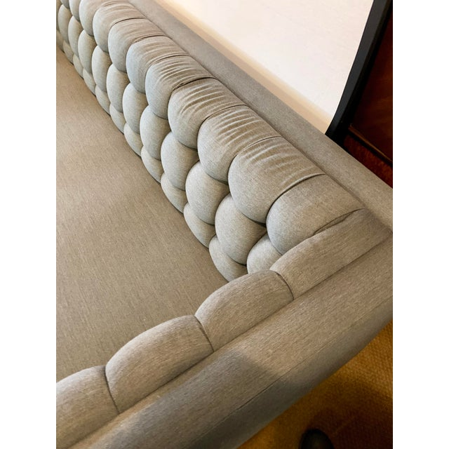 Gray 1970s Vintage Milo Baughman Chrome and Tufted Gray Sofa For Sale - Image 8 of 13
