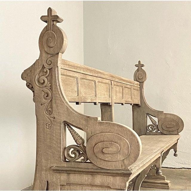 Mid 19th Century 19th Century Gothic Revival Church Pew, Bench For Sale - Image 5 of 13