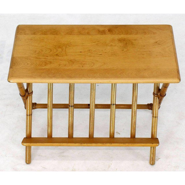 1960s Pair of Faux Burnt Bamboo X-Base Rectangular Side End Tables With Magazine Rack For Sale - Image 5 of 12