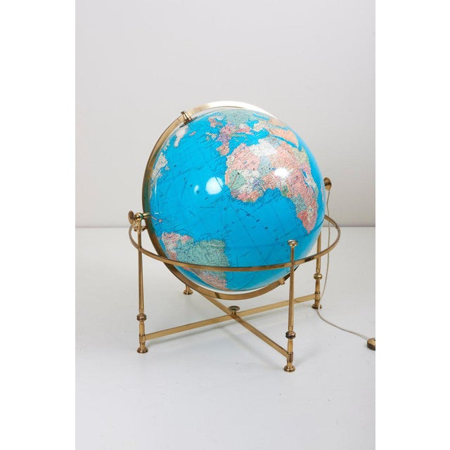 Huge Vintage Illuminated Globe With Brass Stand For Sale - Image 4 of 13