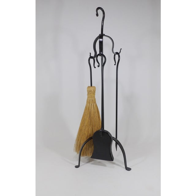 Rustic Wrought Iron Shovel Poker Brush & Rack Fireplace Tool Cabin Set For Sale In Sacramento - Image 6 of 6