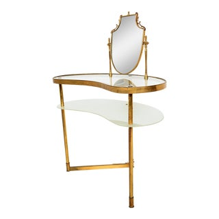 1940s Italian Hollywood Regency Fontana Arte Style Brass and Glass Vanity with Mirror For Sale