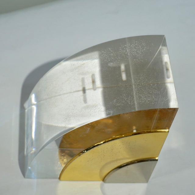 Brass 1970 Italian Brass Nickel Lucite Bookends - a Pair For Sale - Image 7 of 11
