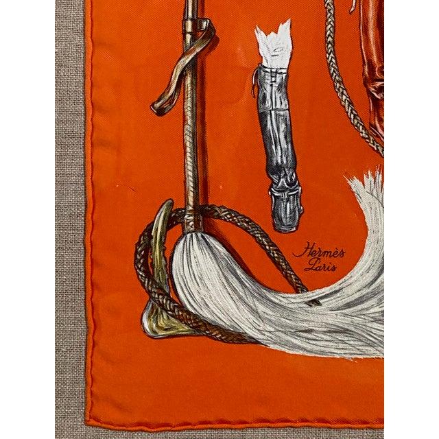 """Orange Framed Vintage Unused Hermès Silk Scarf """"Propos De Bottes"""" For Sale - Image 8 of 9"""