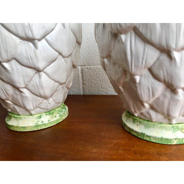 Mediterranean Paul Hanson Ceramic Artichoke Lamps - Pair For Sale - Image 3 of 11