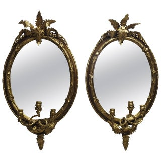 19th Century Fern Leaf Mirrored Sconces- a Pair For Sale