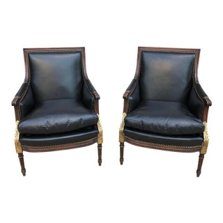 Vintage Black Leather Empire Style Arm Chairs - A Pair For Sale