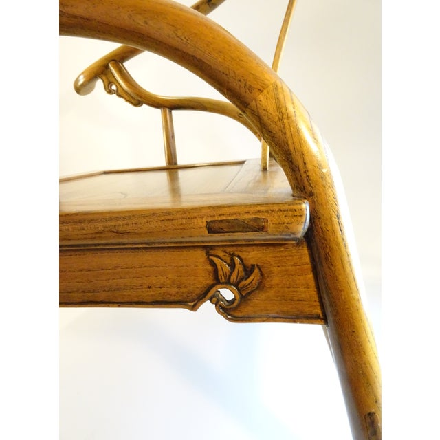 Vintage Chinese Horseshoe Elm Wood Chair For Sale - Image 9 of 13