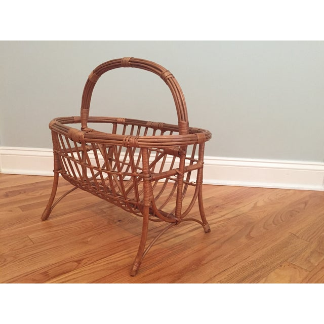 Give your space a boho feel with this vintage bamboo and rattan magazine holder. Some splits and breaks to wrap and sides...